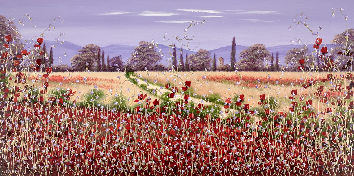 Poppy Fields IV by mary shaw -  sized 48x24 inches. Available from Whitewall Galleries